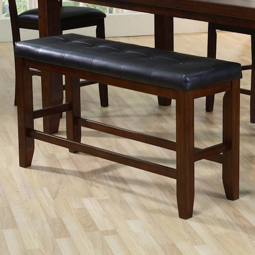 Crown Mark Bardstown Counter Height Bench with Tufted Set