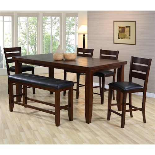 Crown Mark Bardstown Pub Table Set with Bench