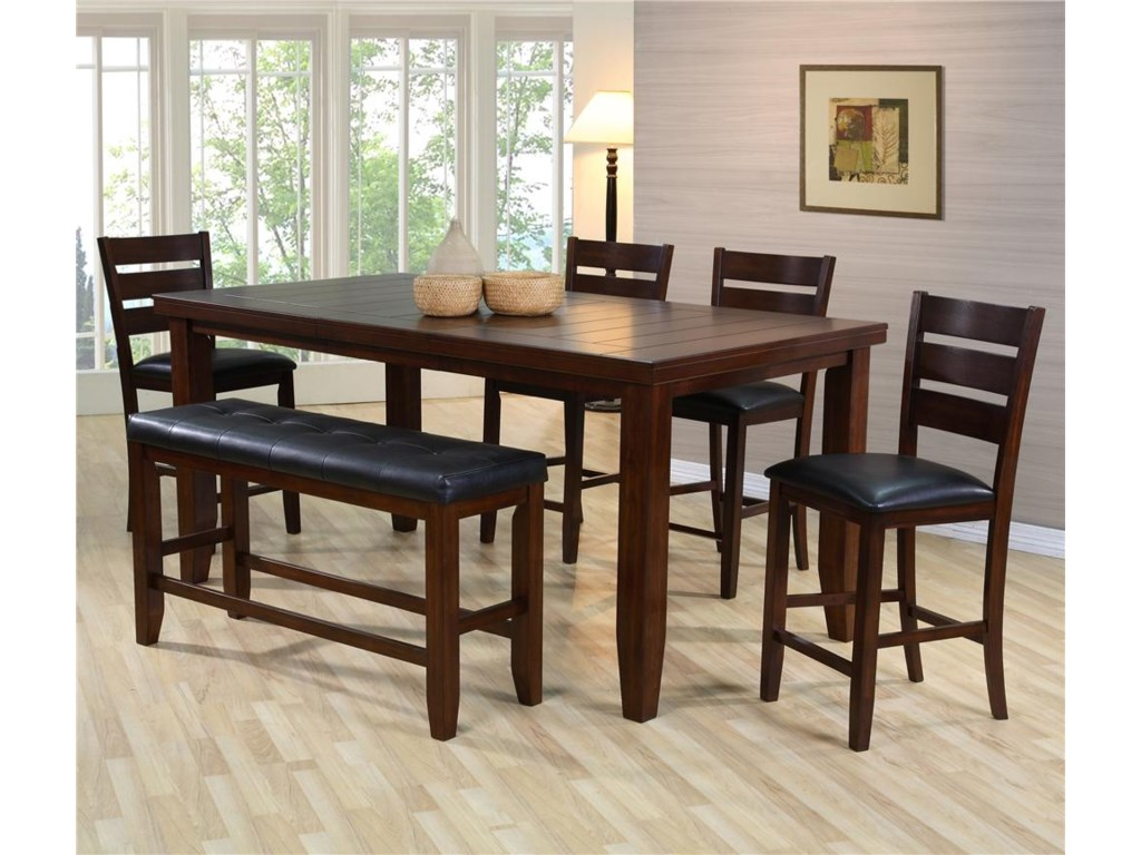 Crown Mark Bardstown Pub Table Set with Bench   Royal Furniture ...