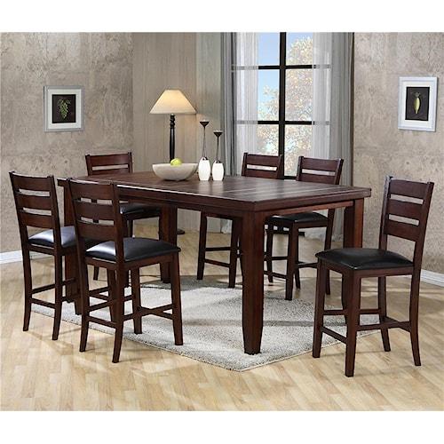 Crown Mark Bardstown Rectangular Counter Height Table Set