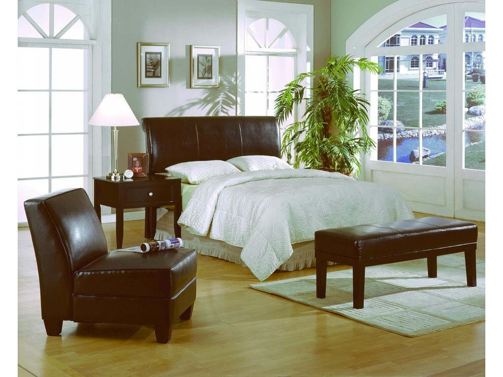 Shown with Armless Chair, Bench & Nightstand. Bed Shown May Not Represent Size Indicated.
