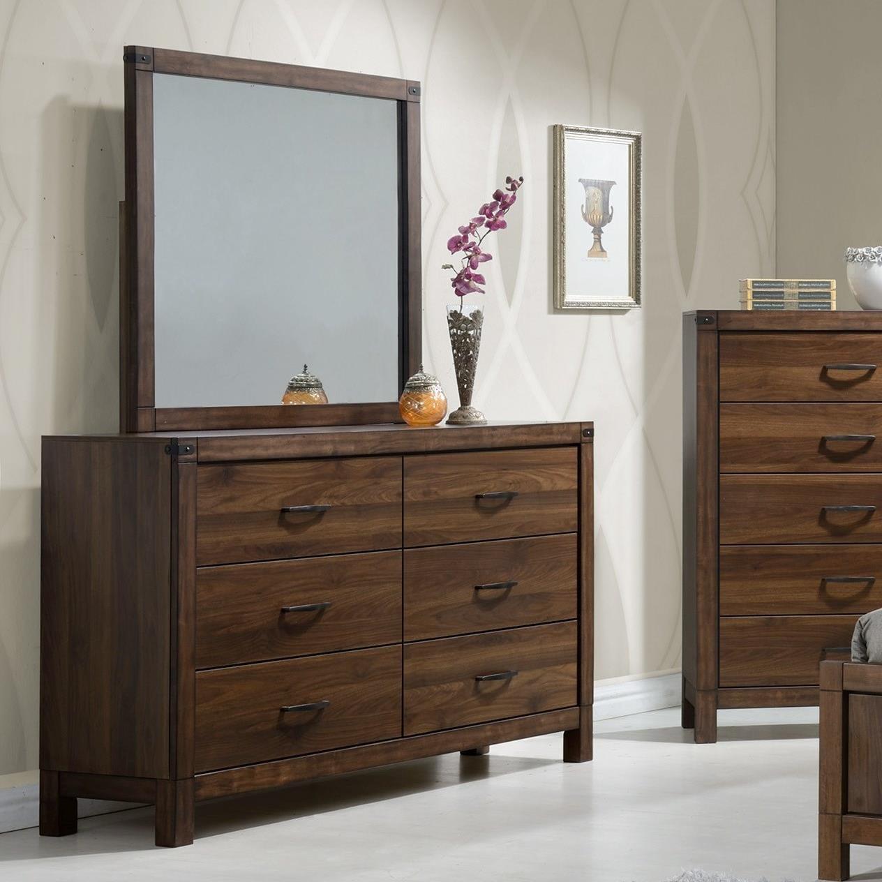 Crown Mark Belmont Rustic Dresser And Mirror Set
