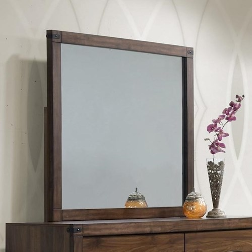 Crown Mark Belmont Dresser Mirror with Rustic Metal Accents