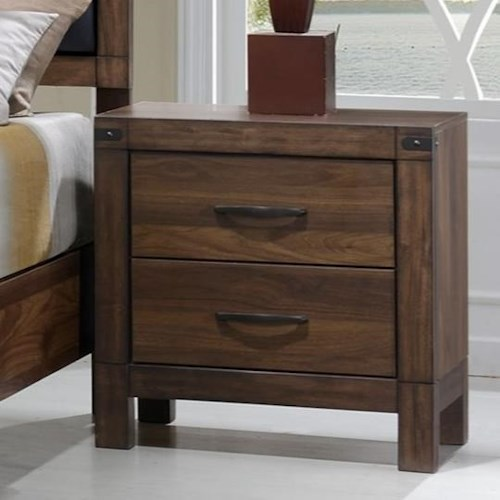 Crown Mark Belmont Nightstand With Rustic Metal Accents