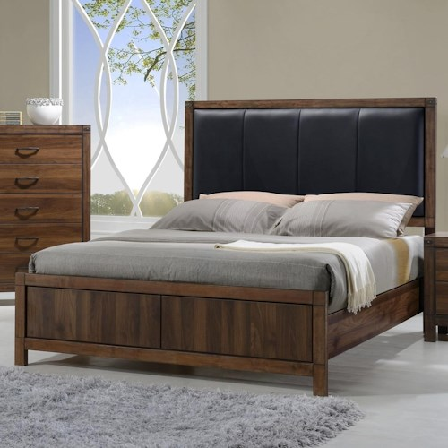 Crown Mark Belmont King Bed with Upholstered Headboard