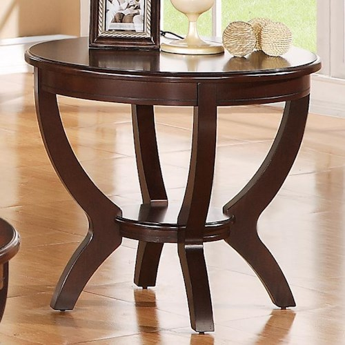 Crown Mark Brownstown Cocktail Round End Table with Shelf