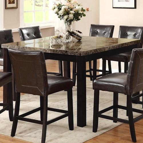Crown Mark Bruce Square Counter Height Table with Faux Marble Top