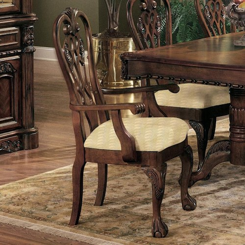 Crown Mark Brussels Dining Arm Chair with Upholstered Seat