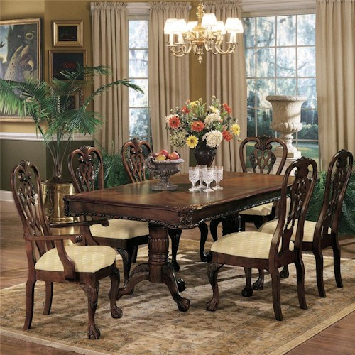Crown Mark Brussels Double Pedestal Dining Table and Chairs with Upholstered Seats