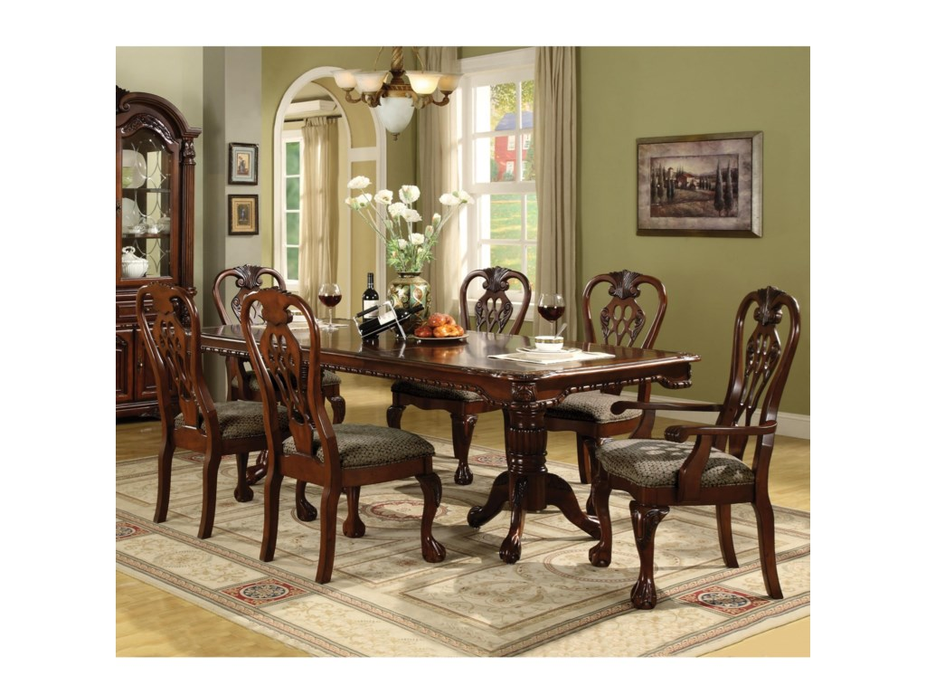 Crown Mark Brussels Double Pedestal Dining Table and Chairs with ...