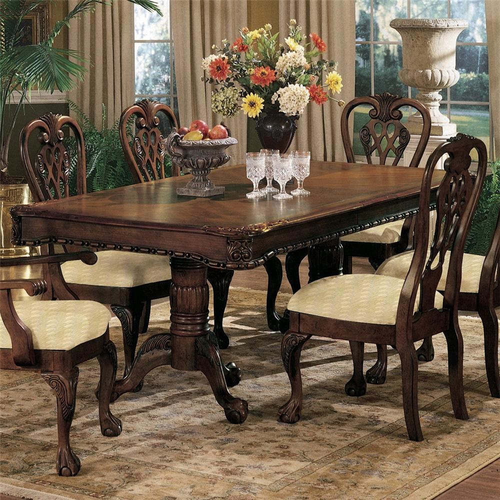 crown mark brussels double pedestal dining table with two 12 inch
