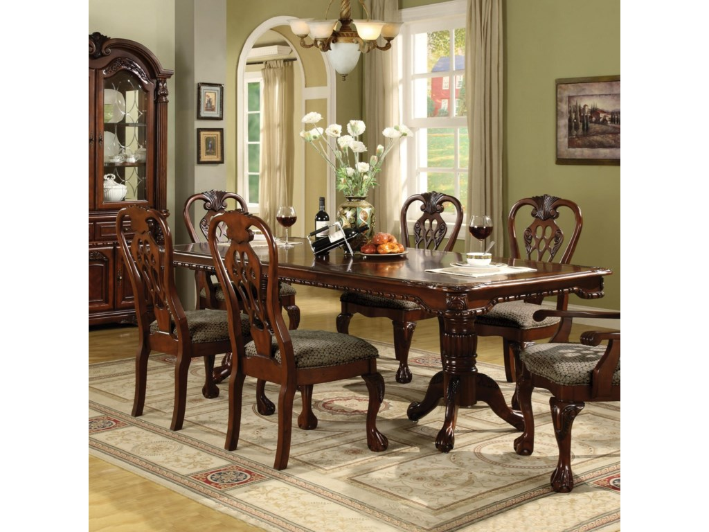 Brussels Double Pedestal Dining Table with Two 12 Inch Leaves by Crown Mark  at Household Furniture