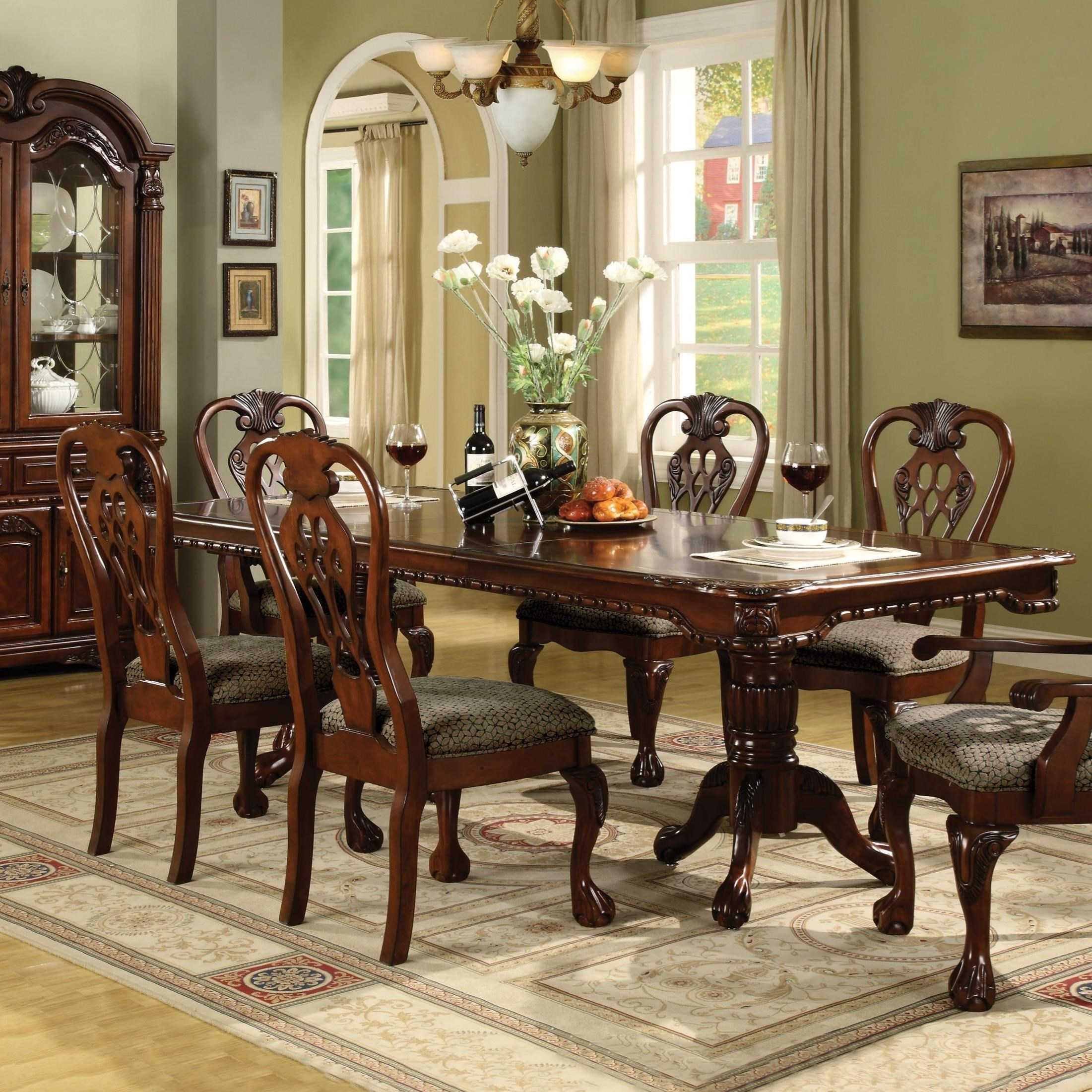 Crown Mark Brussels Double Pedestal Dining Table With Two 12 Inch Leaves