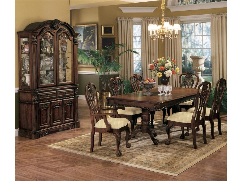 Shown with Side Chairs, Arm Chairs, Buffet and Hutch