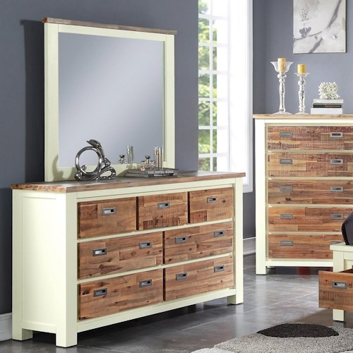 Crown Mark Buckley Two-Toned Dresser and Mirror Set