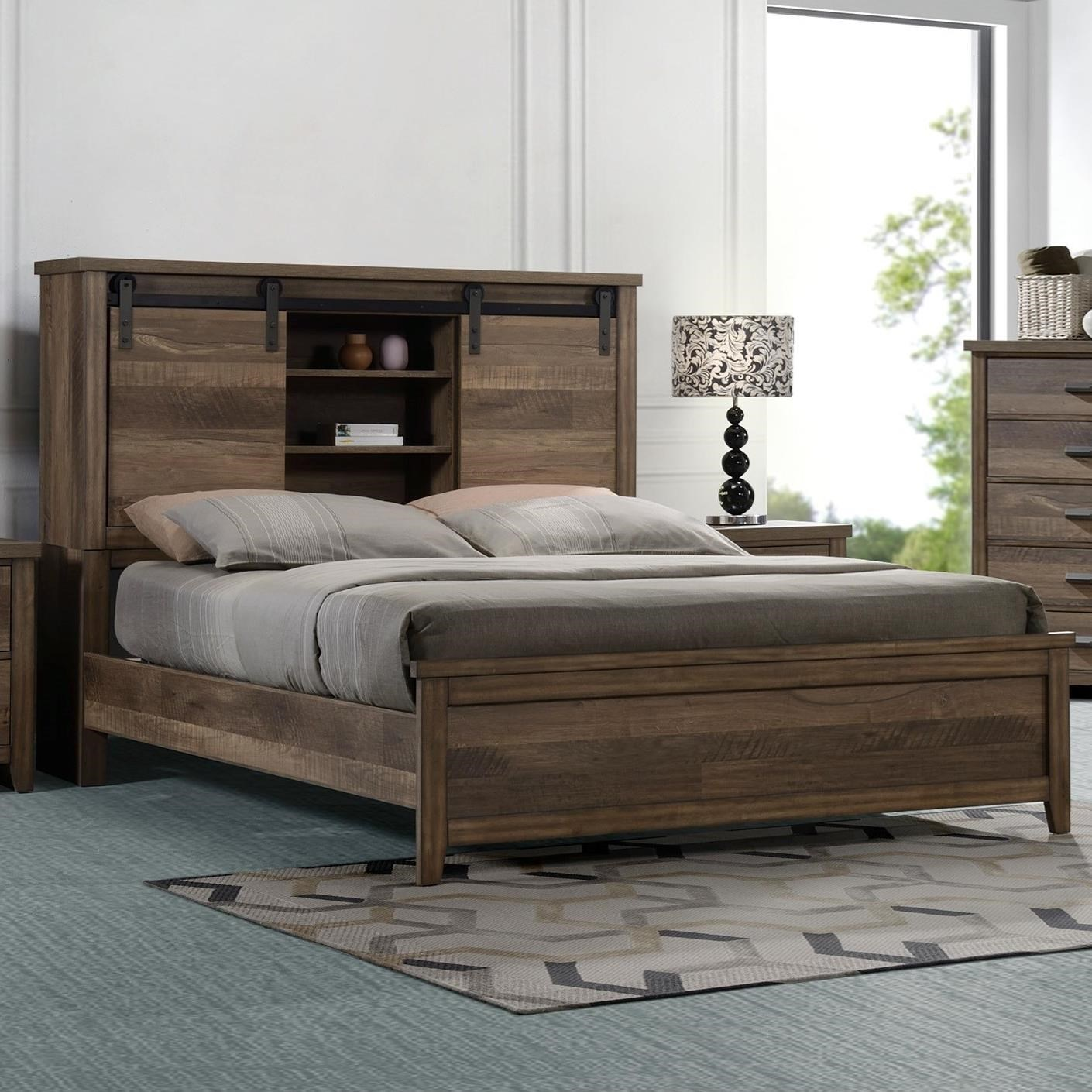 Rustic-Industrial King Bookcase Bed