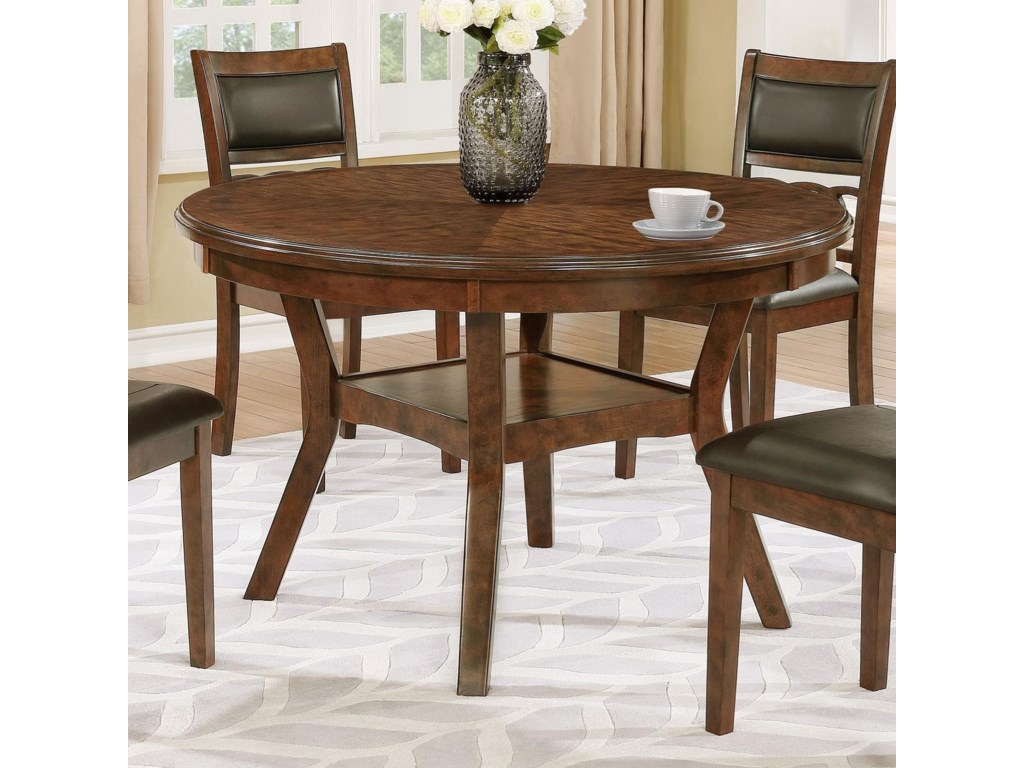 Crown Mark Cally 2216t 48 Round Dining Table With Shelf Household