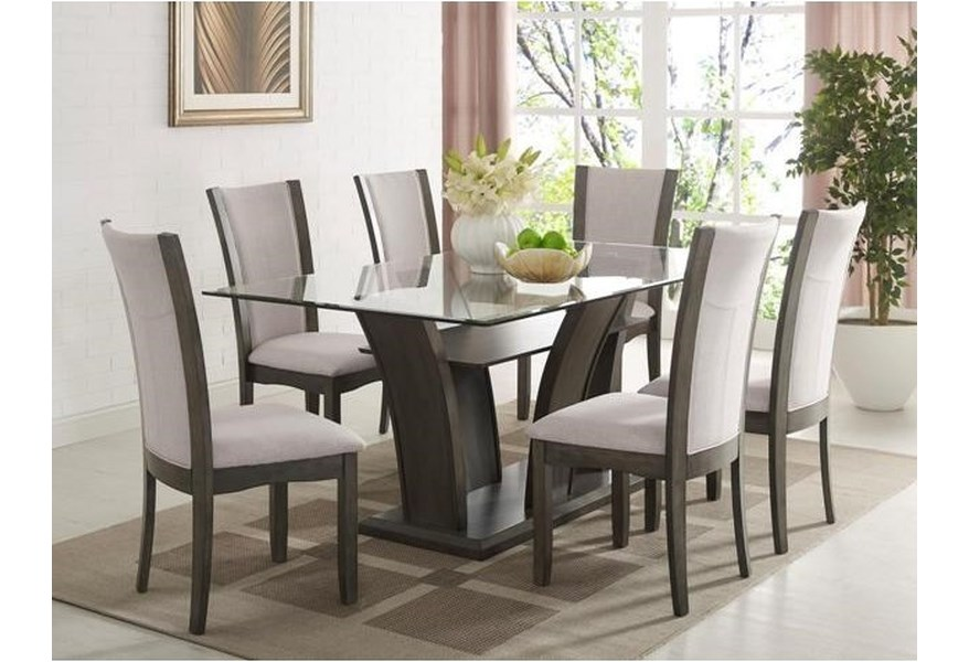 Crown Mark Camelia Grey 7 Piece Table And Upholstered Chair