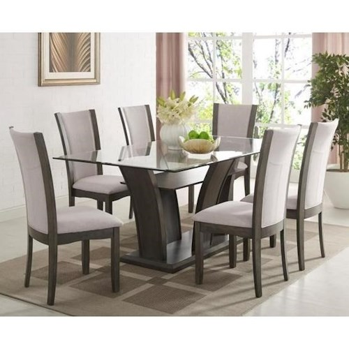 Crown Mark Camelia Grey 7 Piece Table And Upholstered Chair Set