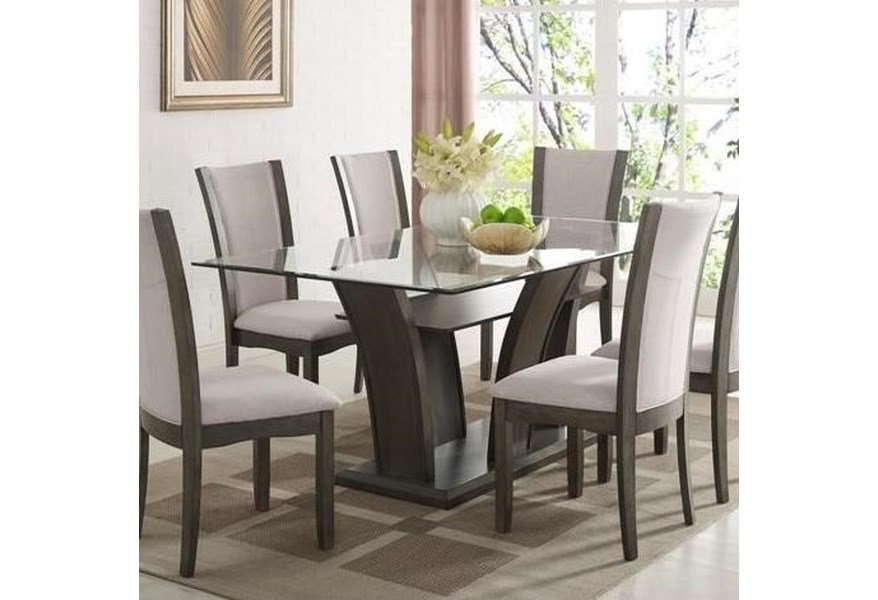 Camelia Grey Rectangular Dining Table With Gl Top By Crown Mark At Dunk Bright Furniture