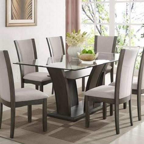 Superior Crown Mark Camelia Grey Rectangular Dining Table With Glass Top