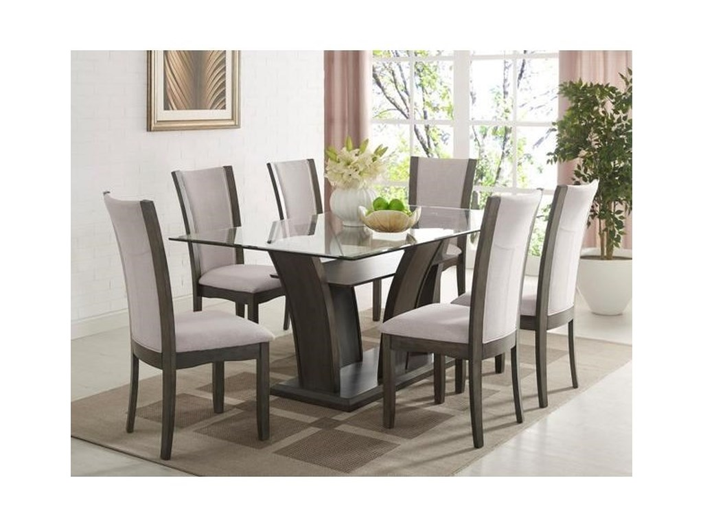 Crown Mark Camelia Grey Rectangular Dining Table With Gl Top