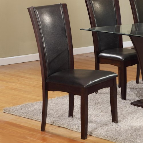 Crown Mark Camelia Dining Side Chair with Espresso Upholstered Seat