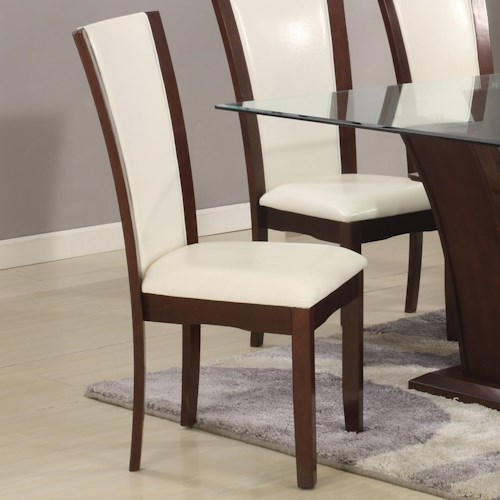 Crown Mark Camelia White Upholstered Dining Side Chair