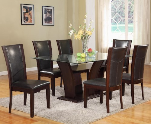 Crown Mark Camelia Espresso 7 Piece Table and Upholstered Chair Set