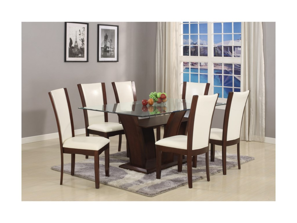 7 Piece Table And Upholstered Chair Set Camelia White By