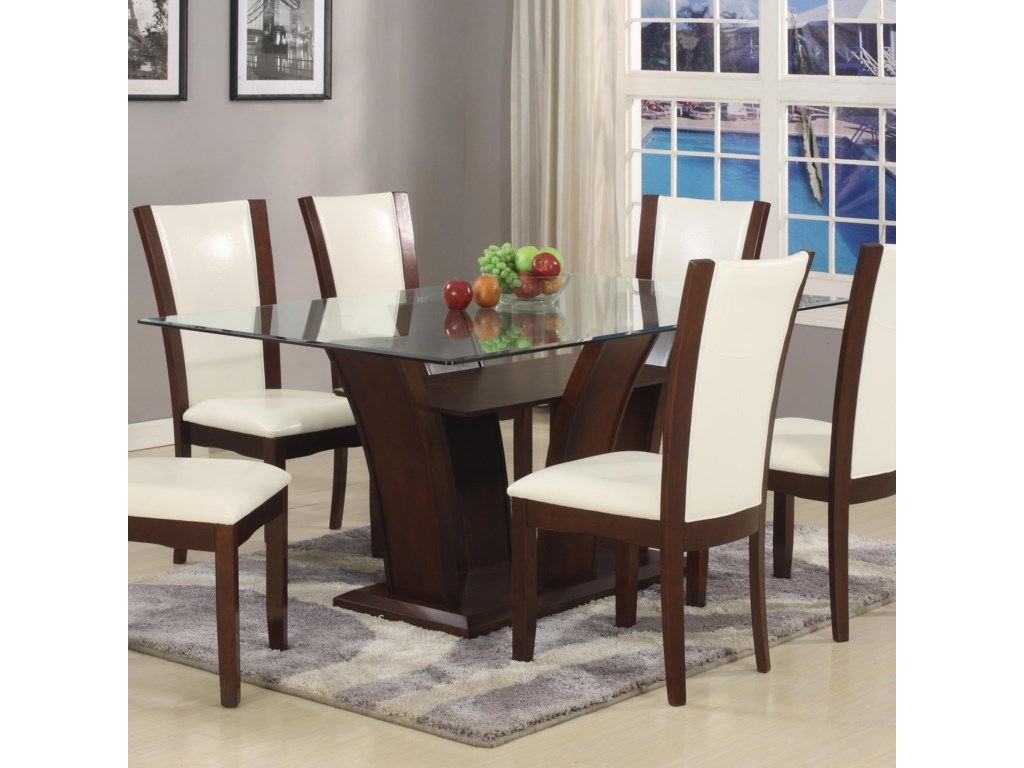 Crown Mark Camelia White Rectangular Dining Table with Glass Top ...