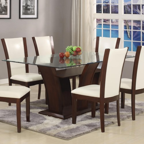 Crown Mark Camelia White Rectangular Dining Table With Gl Top