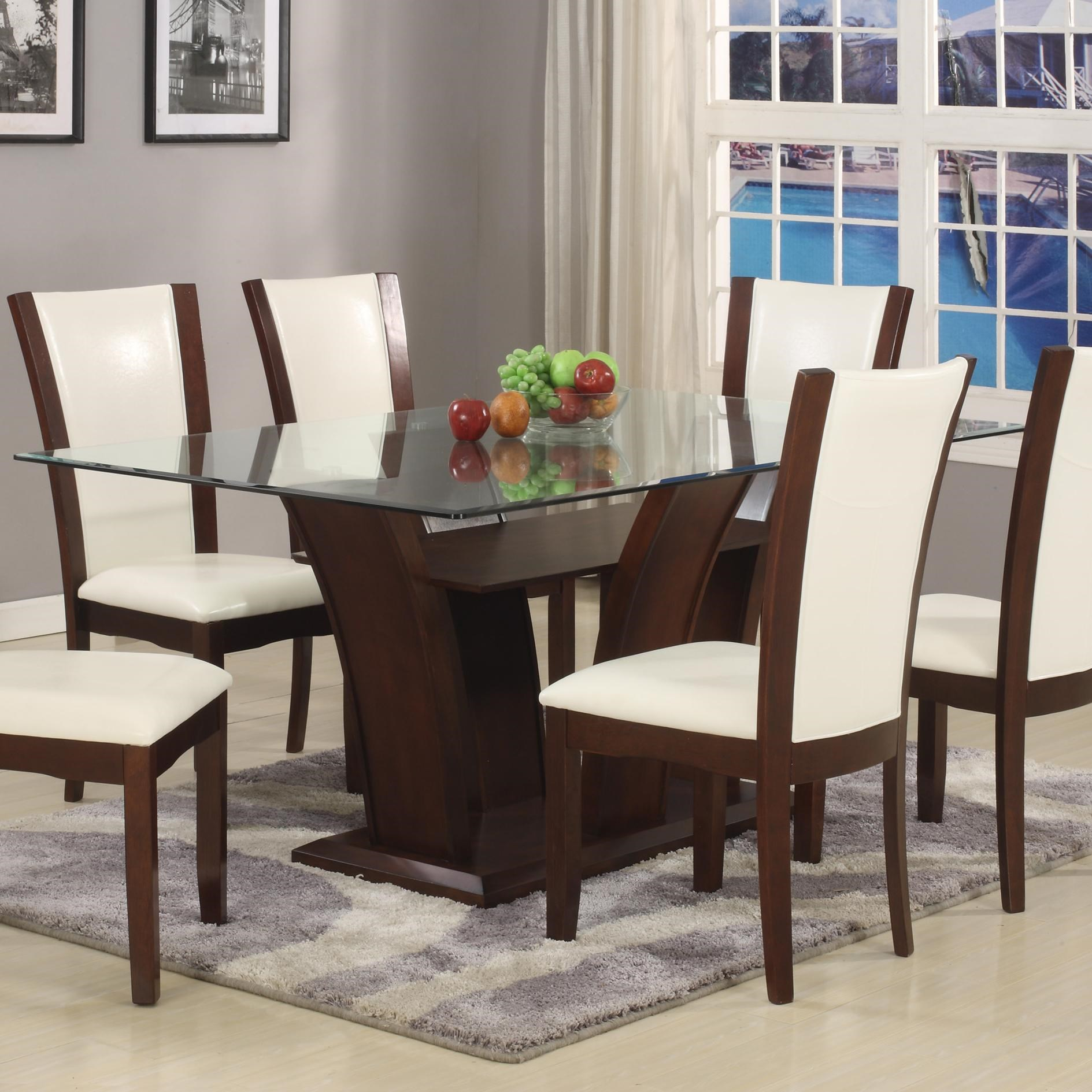 Crown Mark Camelia White Rectangular Dining Table With Glass Top