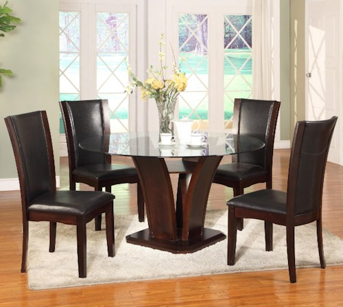Crown Mark Camelia Espresso 5 Piece Round Table and Chair Set