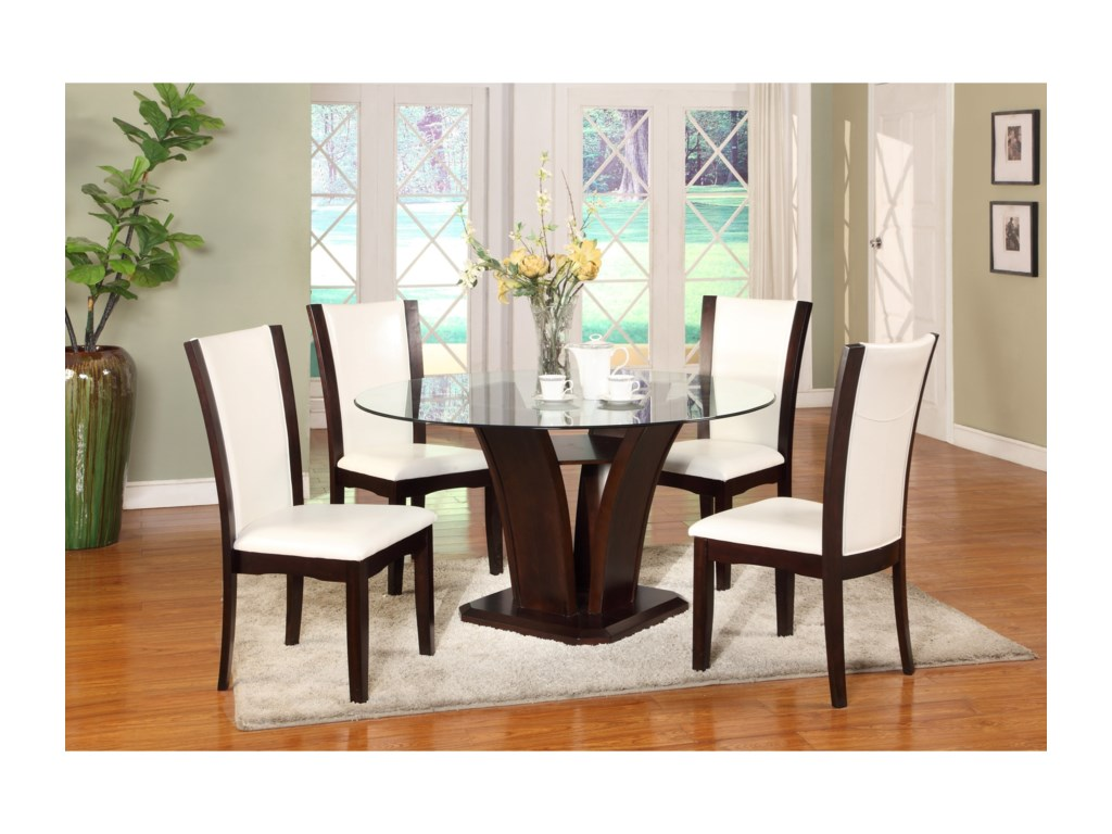 Camelia White 5 Piece Round Table And Chair Set By Crown Mark