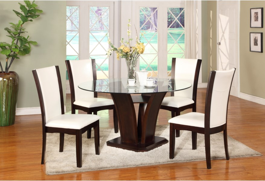 Camelia White 5 Piece Round Table And Chair Set By Crown Mark At Dunk Bright Furniture