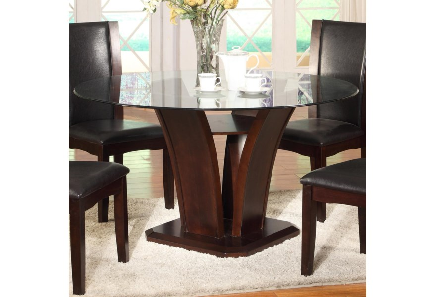 Camelia Espresso Round Glass Top Dining Table with Inverted Base by Crown  Mark at Dunk & Bright Furniture