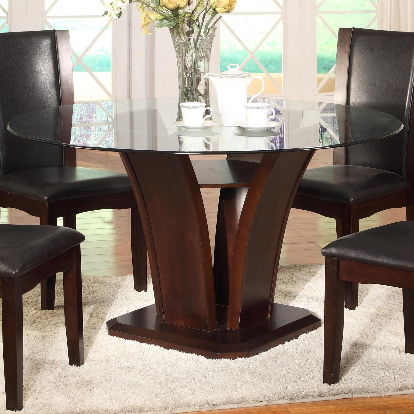 Crown Mark Camelia Espresso Round Glass Top Dining Table With Inverted Base