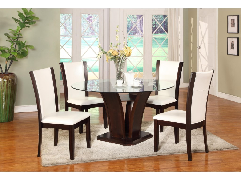 Camelia Espresso Round Gl Top Dining Table With Inverted Base By Crown Mark At Wayside Furniture