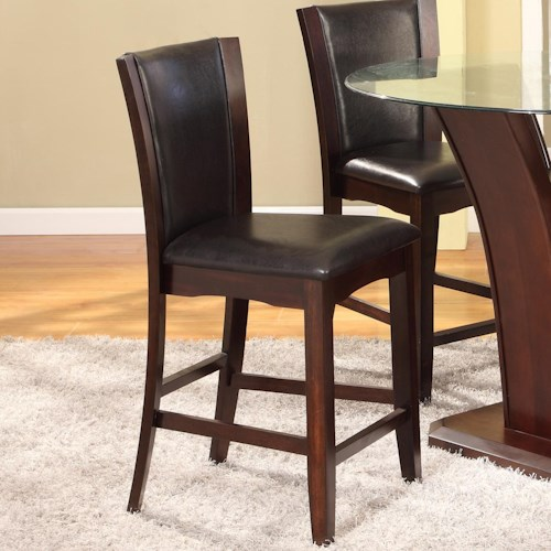 Crown Mark Camelia Espresso Counter Height Stool with Upholstered Seat
