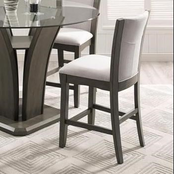 Crown Mark Camelia Grey Counter Height Stool With Upholstered Seat