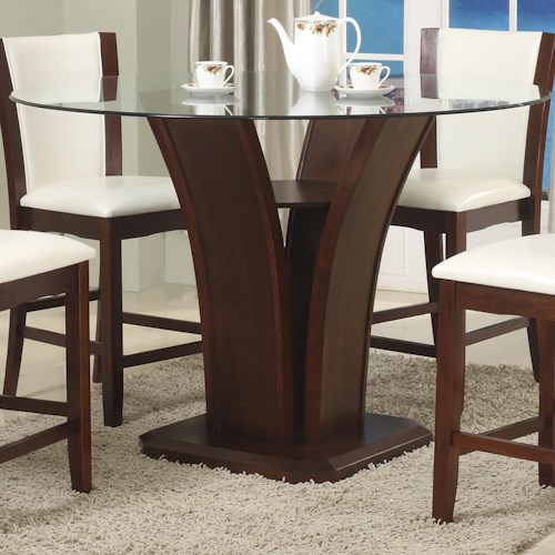 Crown Mark Camelia Espresso Round Glass Top Counter Height Table with Inverted Base