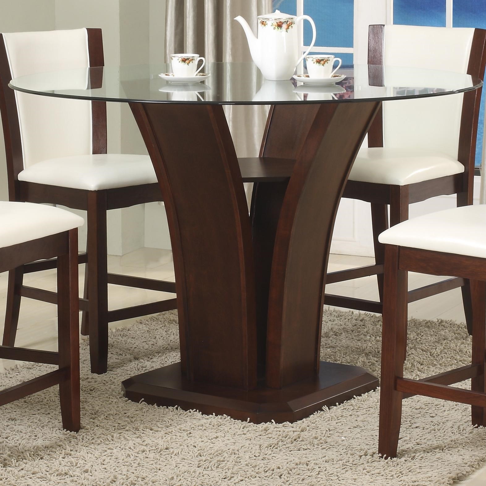 Camelia Espresso Round Glass Top Counter Height Table With Inverted Base    Belfort Furniture   Pub Tables
