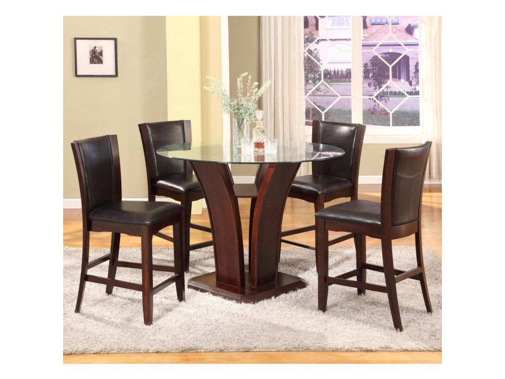 Crown Mark Camelia Espresso5 Piece Pub Table Set