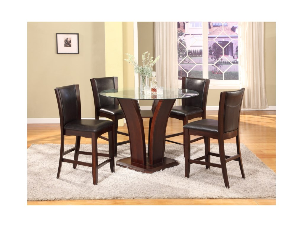 Crown Mark Camelia Espresso5 Piece Counter Height Table Set