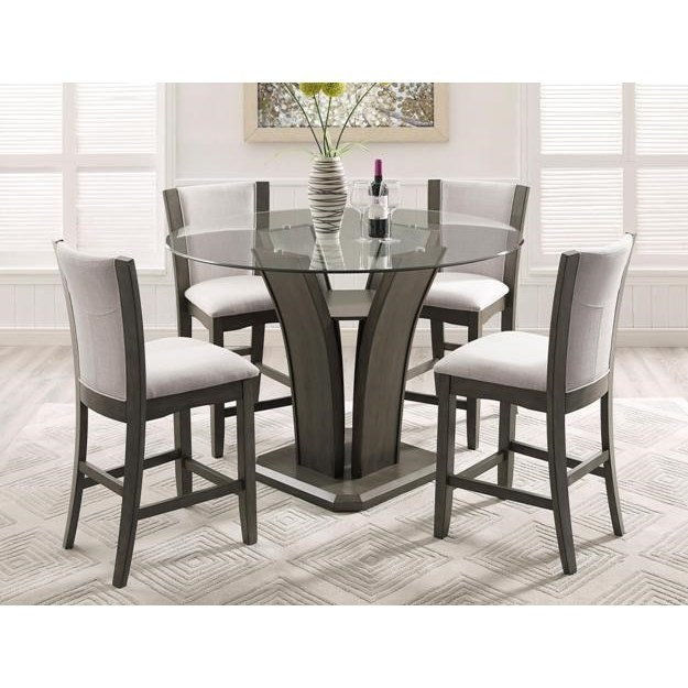 Picture of: Crown Mark Camelia Grey 5 Piece Counter Height Table And Stool Set Royal Furniture Pub Table And Stool Sets