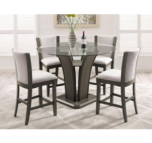 Crown Mark Camelia Grey5 Piece Pub Table Set