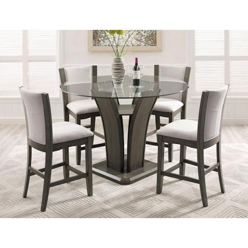 Crown Mark Camelia Grey 5 Piece Counter Height Table And Stool Set