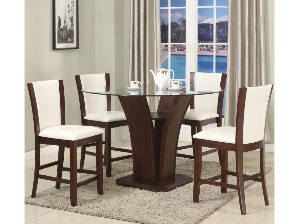 Crown Mark Camelia White5 Piece Counter Height Table Set