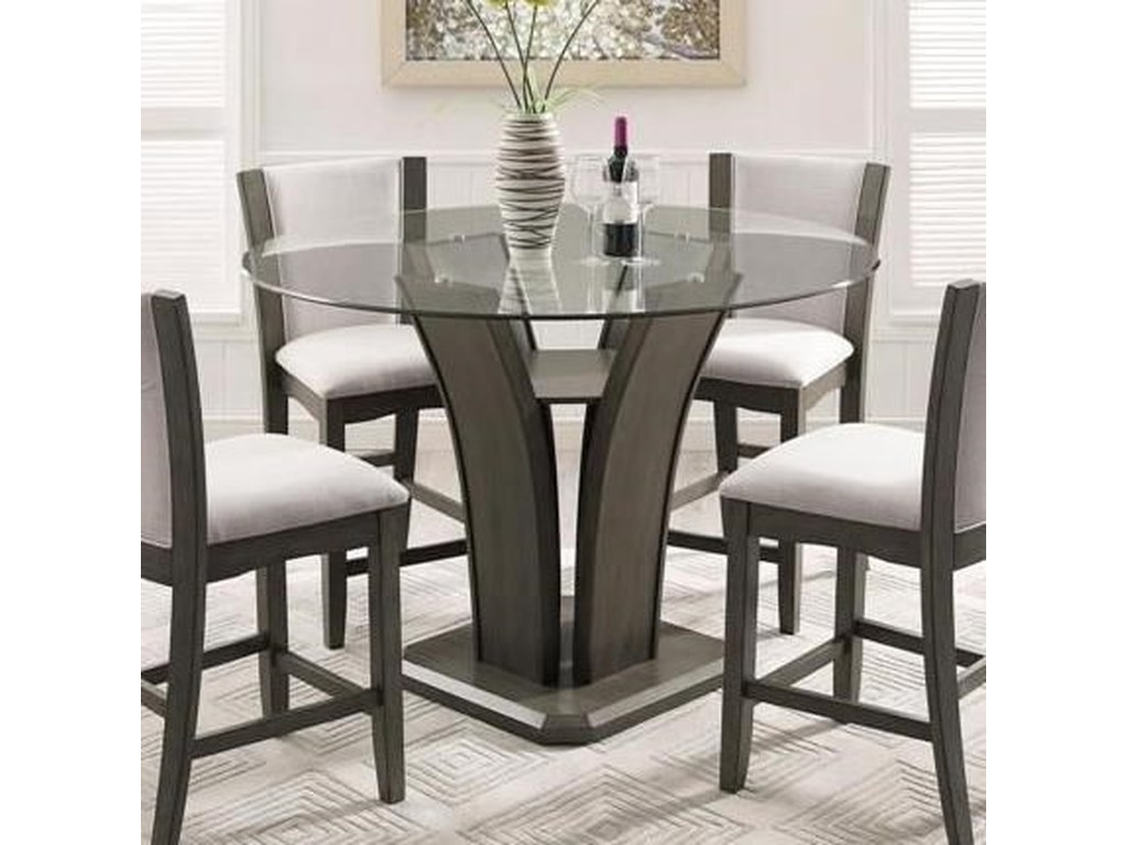 Crown Mark Camelia Grey Round Gl Top Counter Height Table With Inverted Base